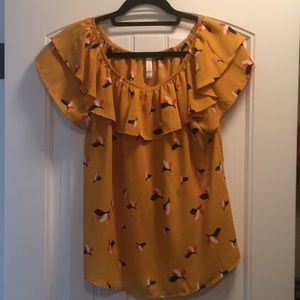 Gold Patterned Blouse with Ruffles
